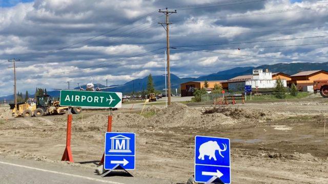 ホワイトホース空港前の工事中の写真、2020年夏